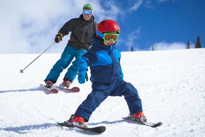 kids snow skiing dad